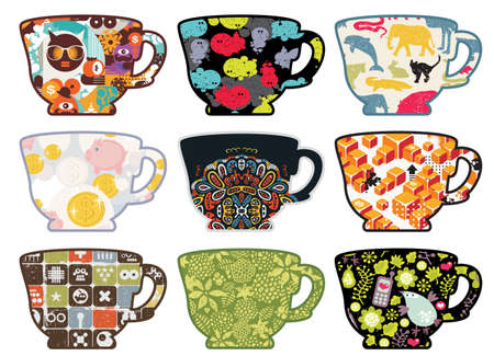 Set of tea cups with funny patterns. Vector