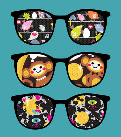 money cat: Retro sunglasses with comics  reflection in it.
