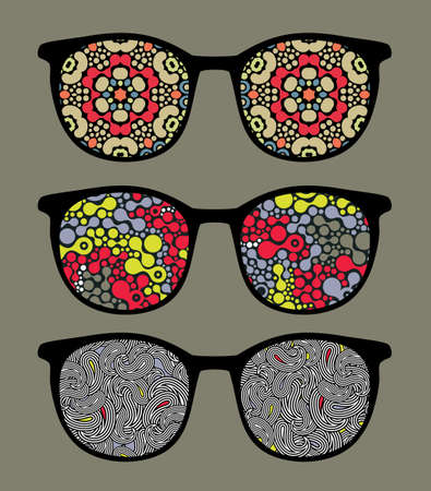 Retro sunglasses with pattern reflection in it. Vector