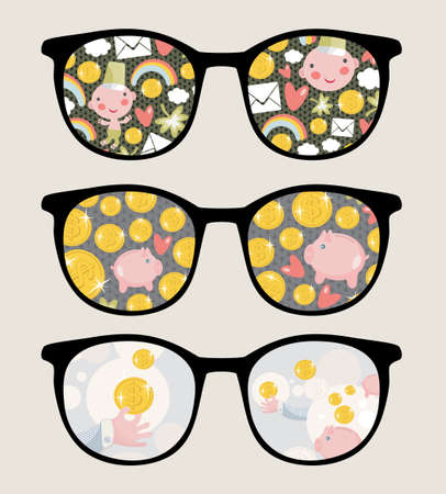 Retro sunglasses with coins  reflection in it. Vector