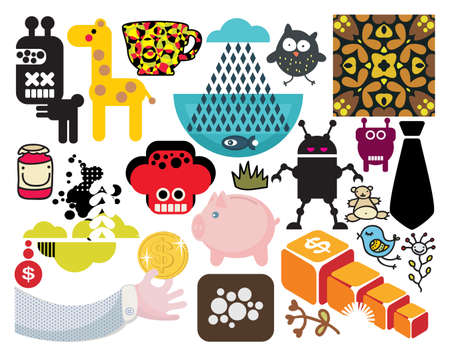 Mix of different images and icons. vol.55 Vector