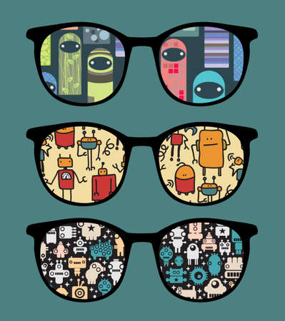 Retro sunglasses with sweet monsters reflection in it.  Vector