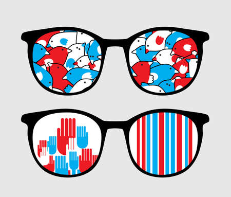 sunglasses reflection: Retro sunglasses with patriotic reflection in it.