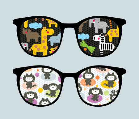 Retro sunglasses with cartoon animals  reflection in it.  Vector