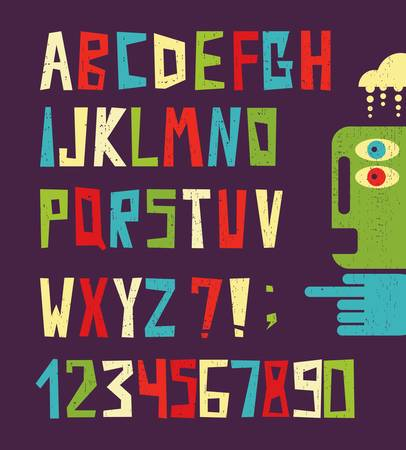 guay: Las letras del alfabeto con divertidos números en estilo retro Vectores