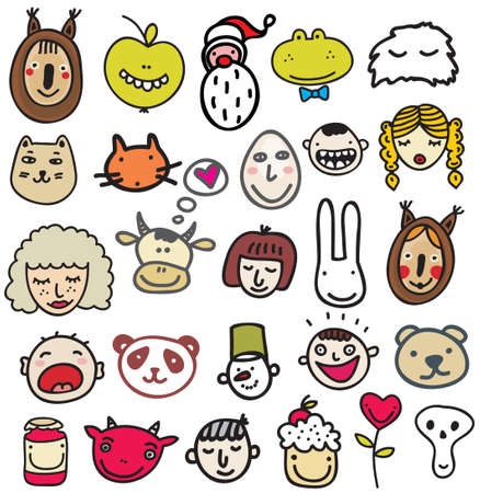 Set of doodle faces  illustration   Vector