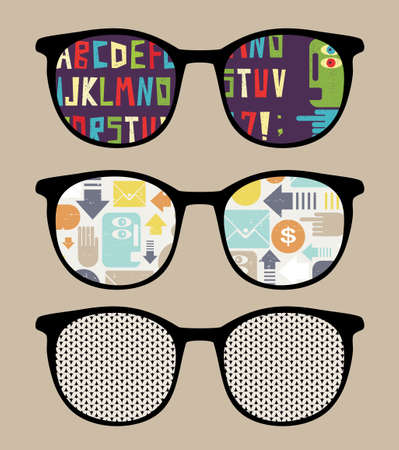 sunglasses reflection: Three retro sunglasses with alphabet reflection in it illustration of accessory - eyeglasses isolated