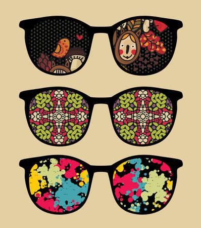 Three retro sunglasses with cool reflection in it   Stock Illustratie