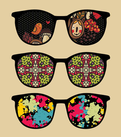 Three retro sunglasses with cool reflection in it   Ilustração