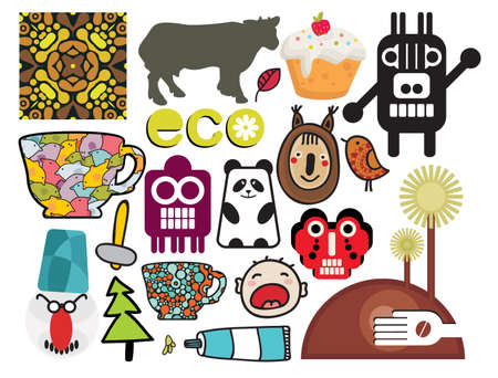 Mix of different images and icons. Vector