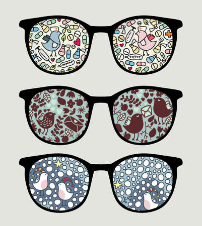 Retro sunglasses with funny birds reflection in it. Vector