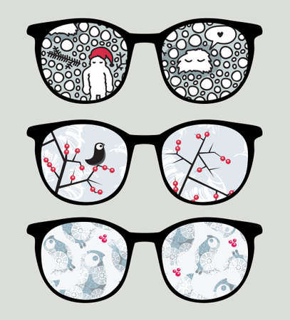 Retro sunglasses with cold winter reflection in it. Stock Vector - 13853559
