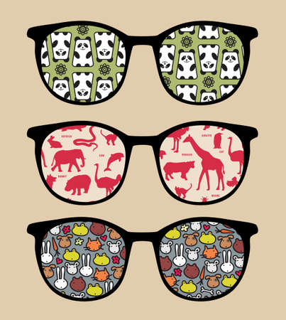 fish icon: Retro sunglasses with   reflection in it