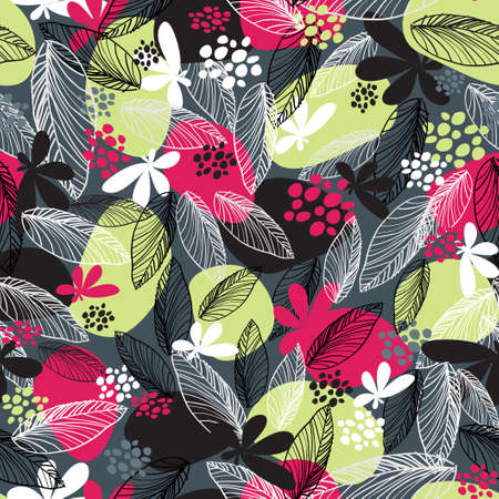 Floral seamless pattern on black background Stock Vector - 13914095