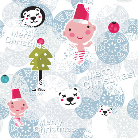 Christmas seamless background with cute baby boy   Stock Vector - 14390934