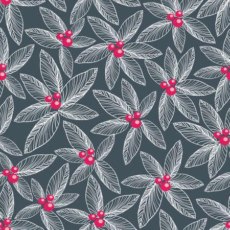 Floral seamless pattern on dark background   Ilustração