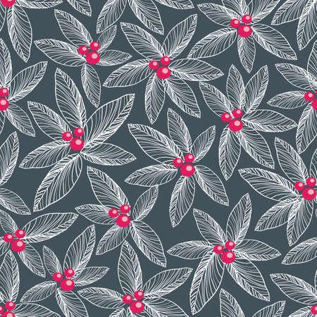 Floral seamless pattern on dark background   Vector
