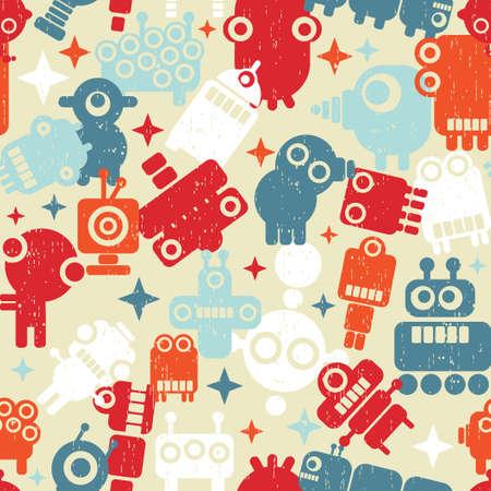 Robots seamless background Stock Vector - 14390929