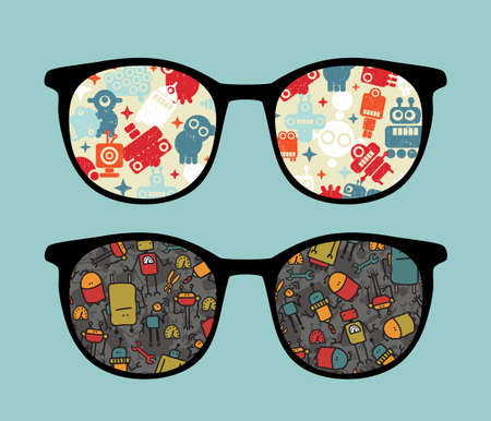 Retro sunglasses with cute robots reflection in it   Vector