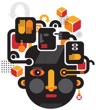 Abstract illustration of faces with design elements  See no evil