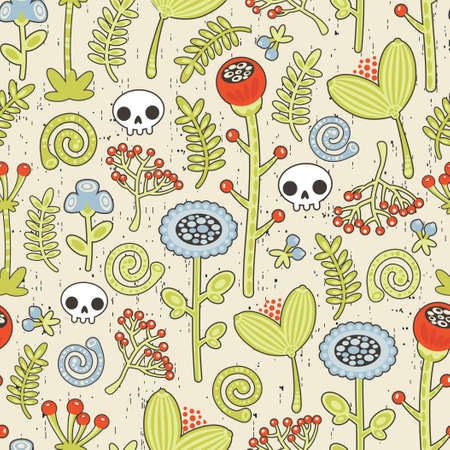 Skulls and flowers seamless background. Beautiful texture. Vector
