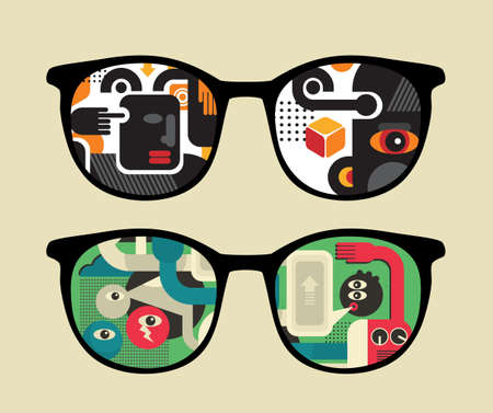 Retro sunglasses with   reflection in it. Vector