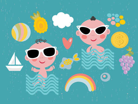 toy boat: Cool baby on vacation.  Illustration
