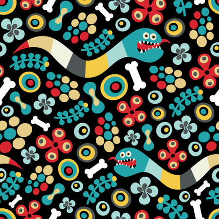 Seamless pattern with snake. Vector