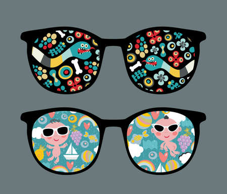 worm snake: Retro sunglasses with snake and boy reflection in it.  Illustration
