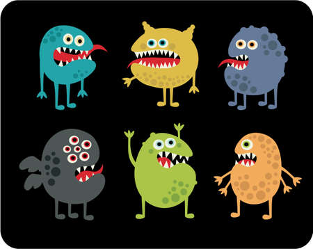 funny creature: Cute monsters set.