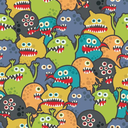Cute monsters seamless texture. Vector