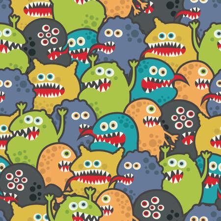 halloween pattern: Cute monsters seamless texture.
