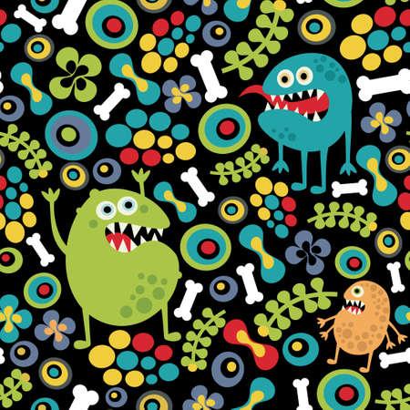 Cute monsters naadloze textuur met botten en bloemen.