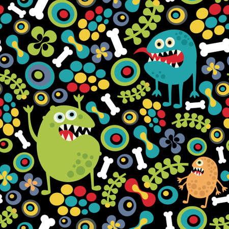 Cute monsters seamless texture with bones and flowers.  Vector