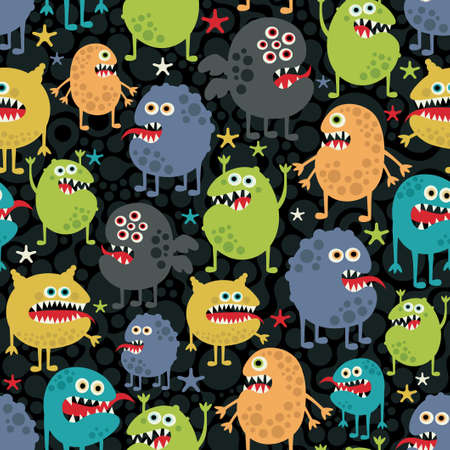 Cute monsters seamless texture with stars.  Vector