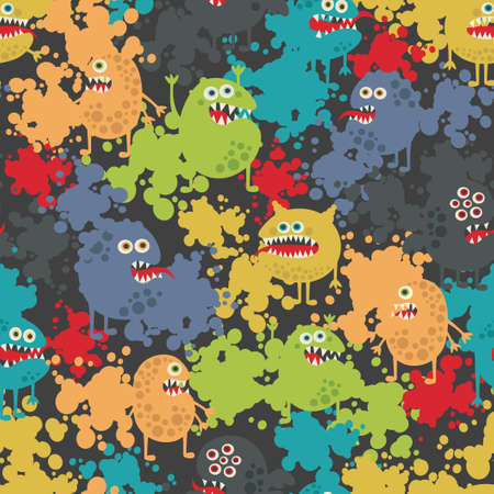 Cute monsters seamless pattern. Vector