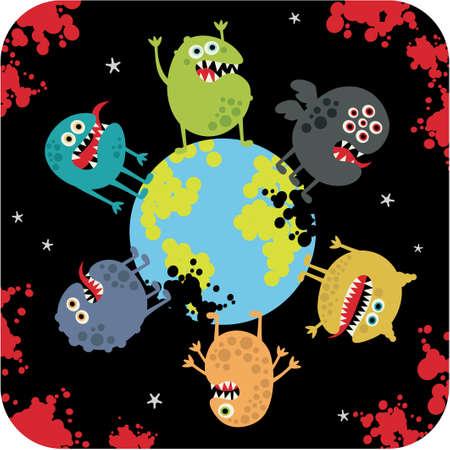 Cute monsters of apocalypse. Stock Vector - 14620716