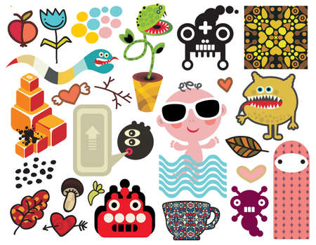 Mix of different images and icons. Stock Vector - 14677134
