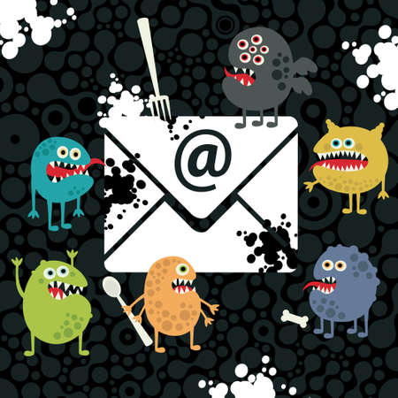 Virus monsters in the email letter. Vector