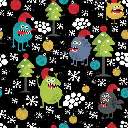 crazy: Cute monsters and Christmas seamless pattern.