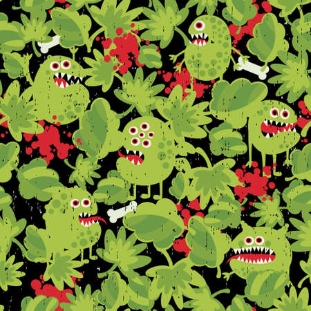 Cute monsters in the grass seamless pattern.  Vector
