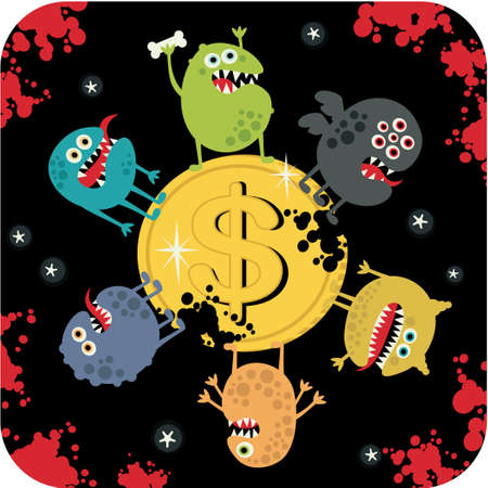 crazy frog: Cute monsters on the coin of dollar.