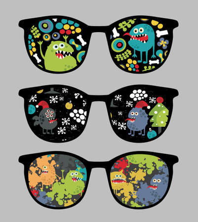 Retro sunglasses with monsters and flora reflection in it. Vector