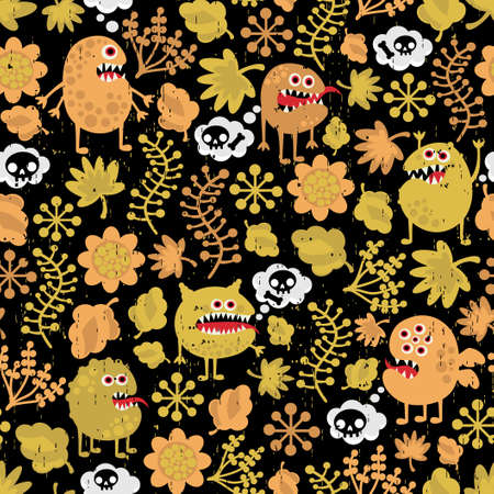 Cute monsters seamless texture with yellow leaves.  Vector