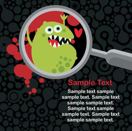 Vergrootglas en microben in. Stock Illustratie