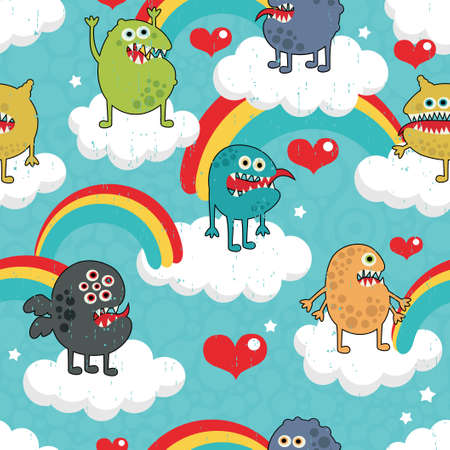 Cute monsters on clouds seamless texture. Vector