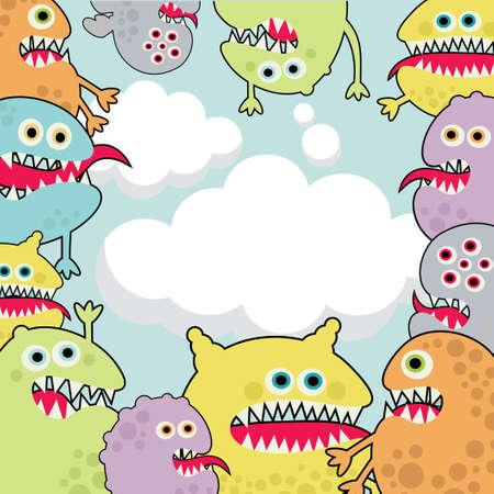 Cute monsters banner cloud shape.  Vector
