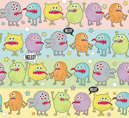 Cute monsters seamless background with stars.  Vector