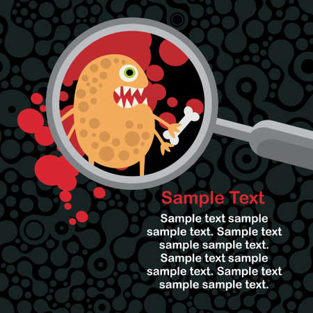 Magnifying glass and orange microbe in it.  Vector