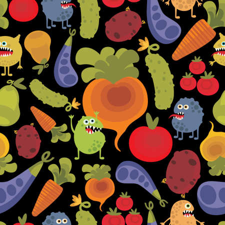 dysentery: Vegetables and fruits with microbes seamless background.